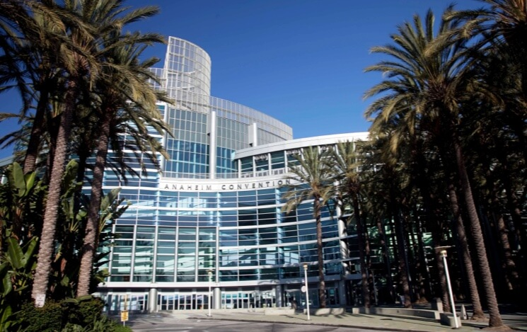 Photo of updated Anaheim Convention Center on a sunny day: the largest on west coast.
