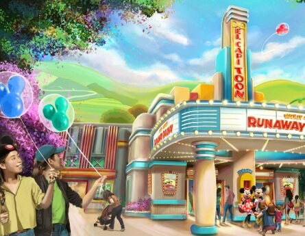 Illustrative rendering of Mickey & Minnie's Runaway Railway coming soon.