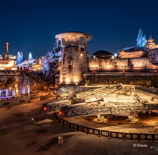 The Millennium Falcon sits center stage at Star Wars: Galaxy's Edge.