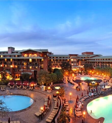 Disneyland Resort's luxury Grand Californian Hotel & Spa in the twilight.