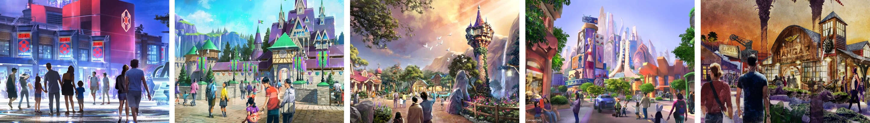 Artist rendering of the soon to arrive Avengers headquarters. Artist rendering of Arendelle and Anna and Elsa's castle. Artist rendering of Rapunzel's tower in new land. Artist rendering of the of Zootopia City Center for coming Disney Park attractions. Artist rendering - gathering space welcomes visitors to dining and entertainment.