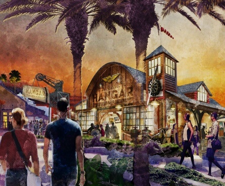 Artist Rendering of the Hangar - a gathering place with music, food and entertainment.