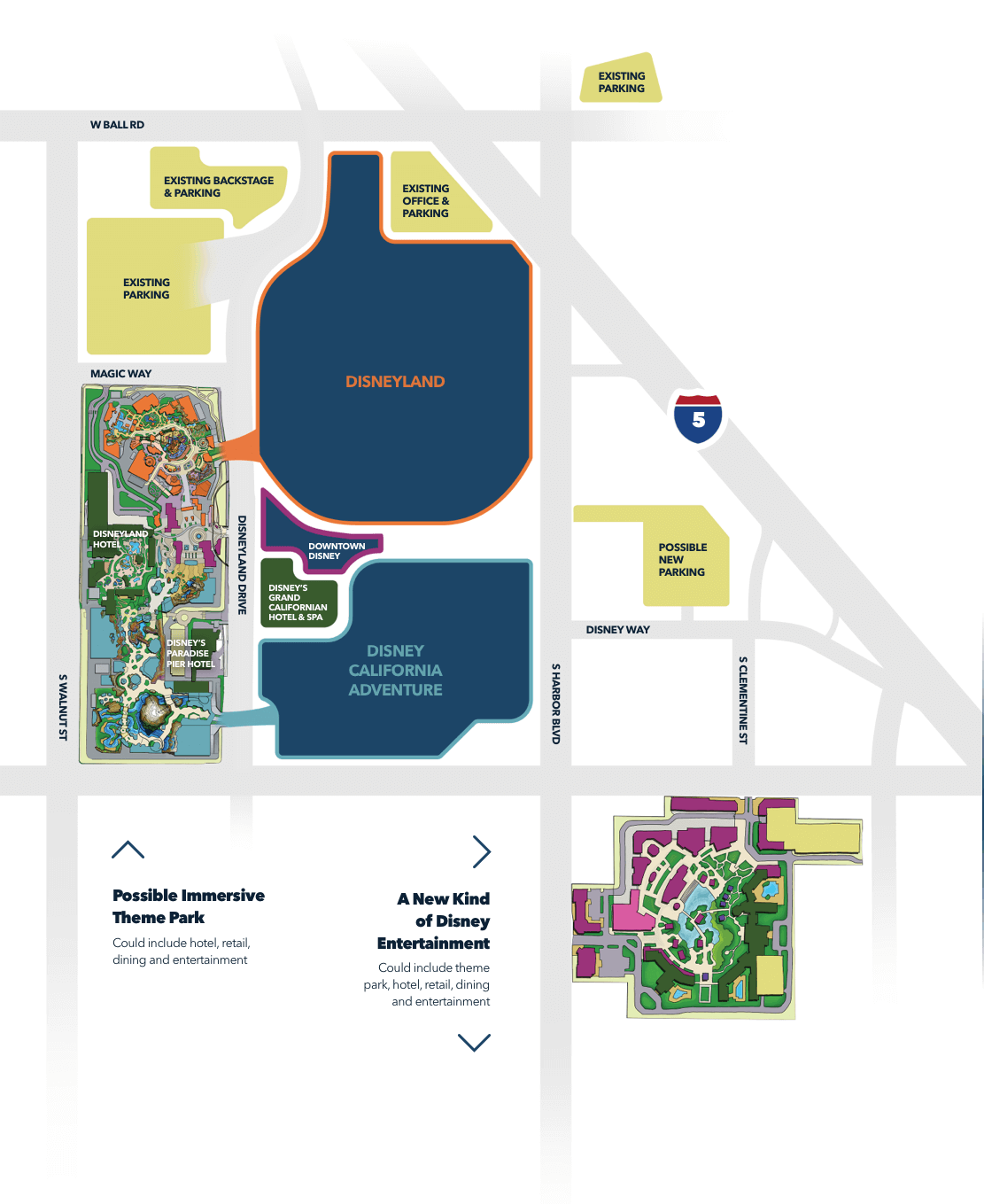 Artist map imagines a Disneyland Resort with new theme park, dining, and entertainment spaces.