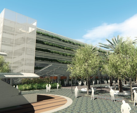 Rendering of additional multi-level parking structure