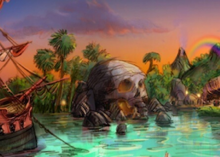 Artist rendering imagines additional Peter Pan adventures with a pirate ship and skull island.