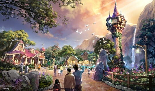 Artist rendering takes us to the land of Rapunzel's home featuring her tower.
