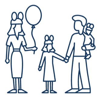 Line drawing family with Mickey ears and balloons represent Disney volunteering.