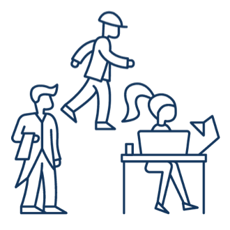 Line drawing features three employees working at blue and white collar jobs.