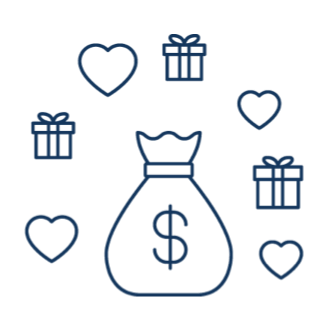 Line drawing of money bag surrounded by hearts and gifts.